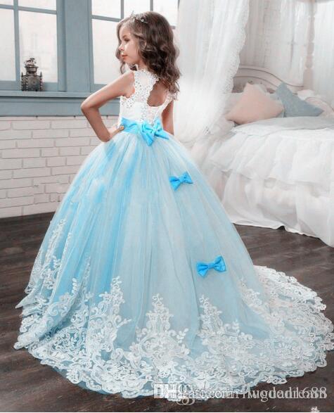 2020 NEUE Mädchen Ballkleid Spitze Pageant Kleider für Mädchen Glitz Holy Communion Kleider Bogen Graduation Gowns Kinder