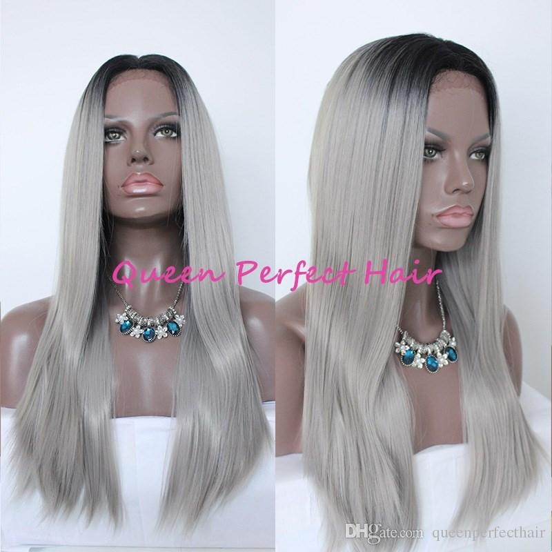 Two Tone Synthetic Lace Front Wig Gray Ombre Long Straight Grey Wigs Dark Roots Heat Resistant Fiber Hair For Fashion Black Women Hot Sale