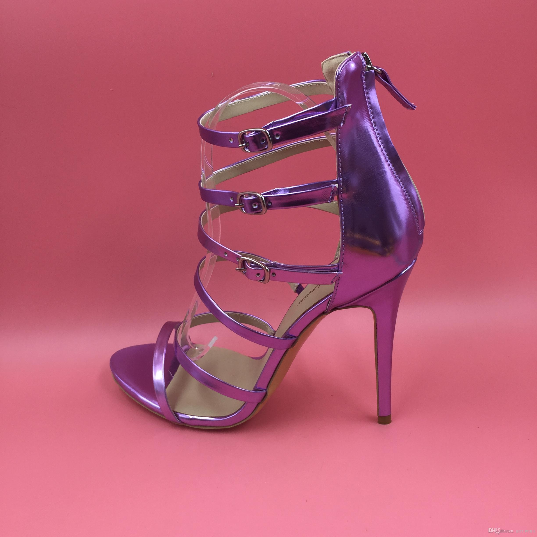 Mode Réel Mariage De Mariée SHoes Violet Lumière Or 2016 Plus La Taille US4-US15 Été Style Sandales Boucle Sangle À Talons Hauts Pas Cher Modest