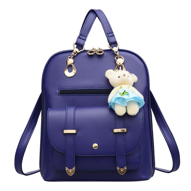 aaf5df6149 Autumn Mini Backpack Famous Brands New PU Leather Designer Bear Pendant  Girls Popular Shoulder Bag Soft Back To School Women S Backpacks Hydration  Backpack ...