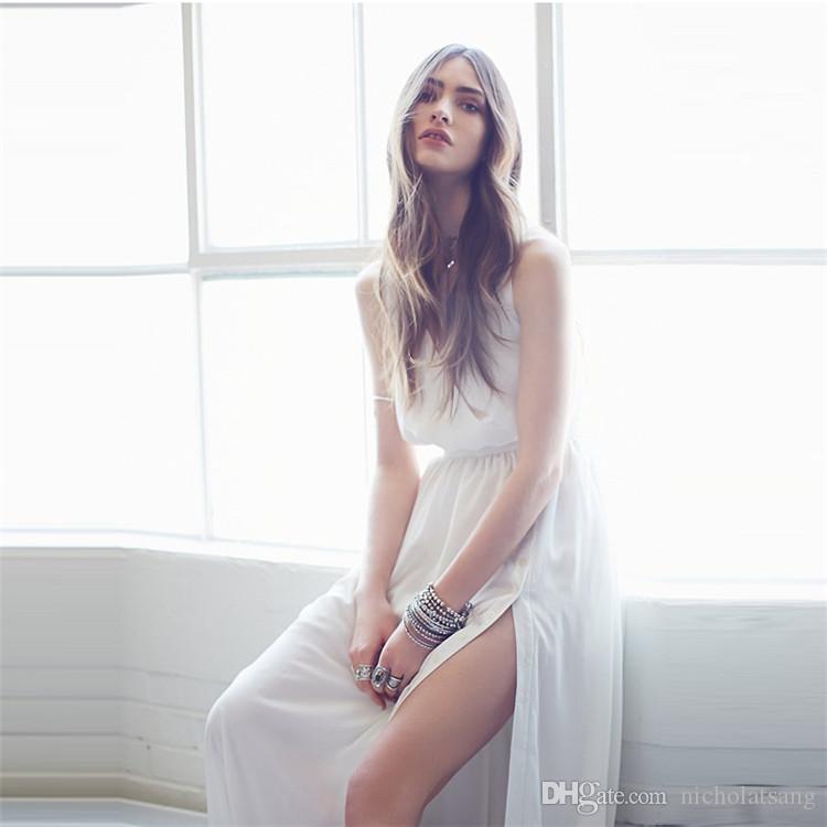 2016 Yeni Yaz Pileli Kat Uzunluk Kulübü Elbiseler Avrupa ve Amerika Birleşik Devletleri Derin V Bölünmüş Uzun Etek Beyaz Kolsuz Şifon Elbise