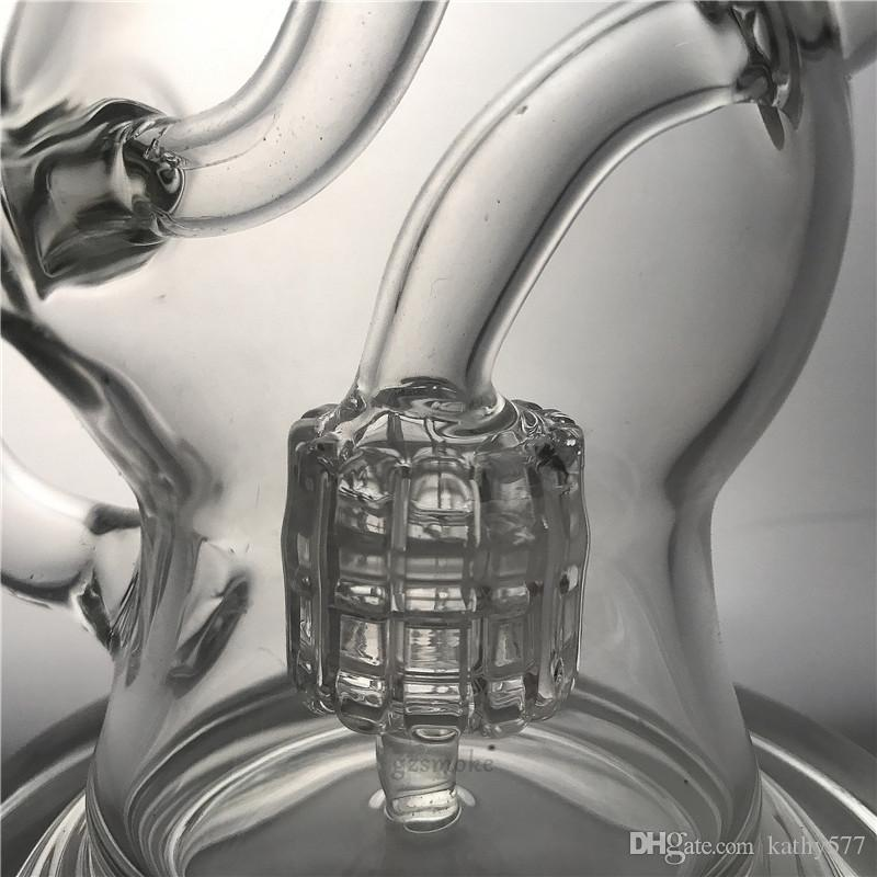 Recycler Dab Rig Wax Glass Bong Matrix Perc Oil Rigs Water Pipe Cyclone Quartz Banger Bowl Heady Bongs Vortex hookah pipes