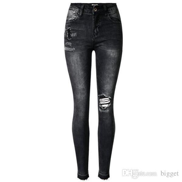 Artı Boyutu 44 Streç Kot Kadın Siyah / Gri Seksi Denim Yüksek Bel Rise Kalça Püskül Yıkılan Vintage Denim Pantolon Kız