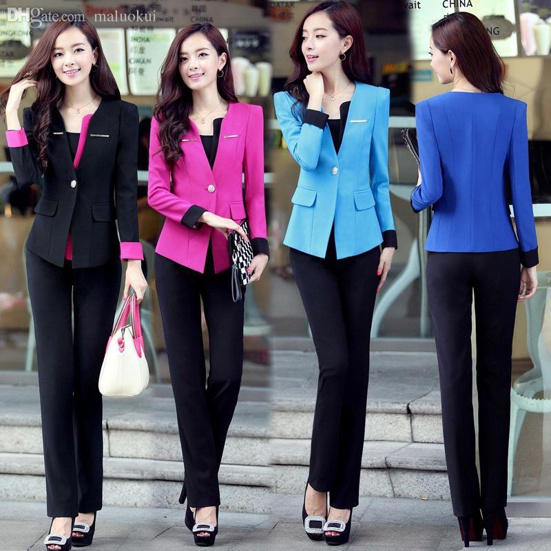 51344f8c2f95 2019 Wholesale 3XL Plus Size Summer Style Elegant Women Pants Suits Women  Business Suits Formal Office Suits Work Blazer Feminino Trouser Suit From  Maluokui ...
