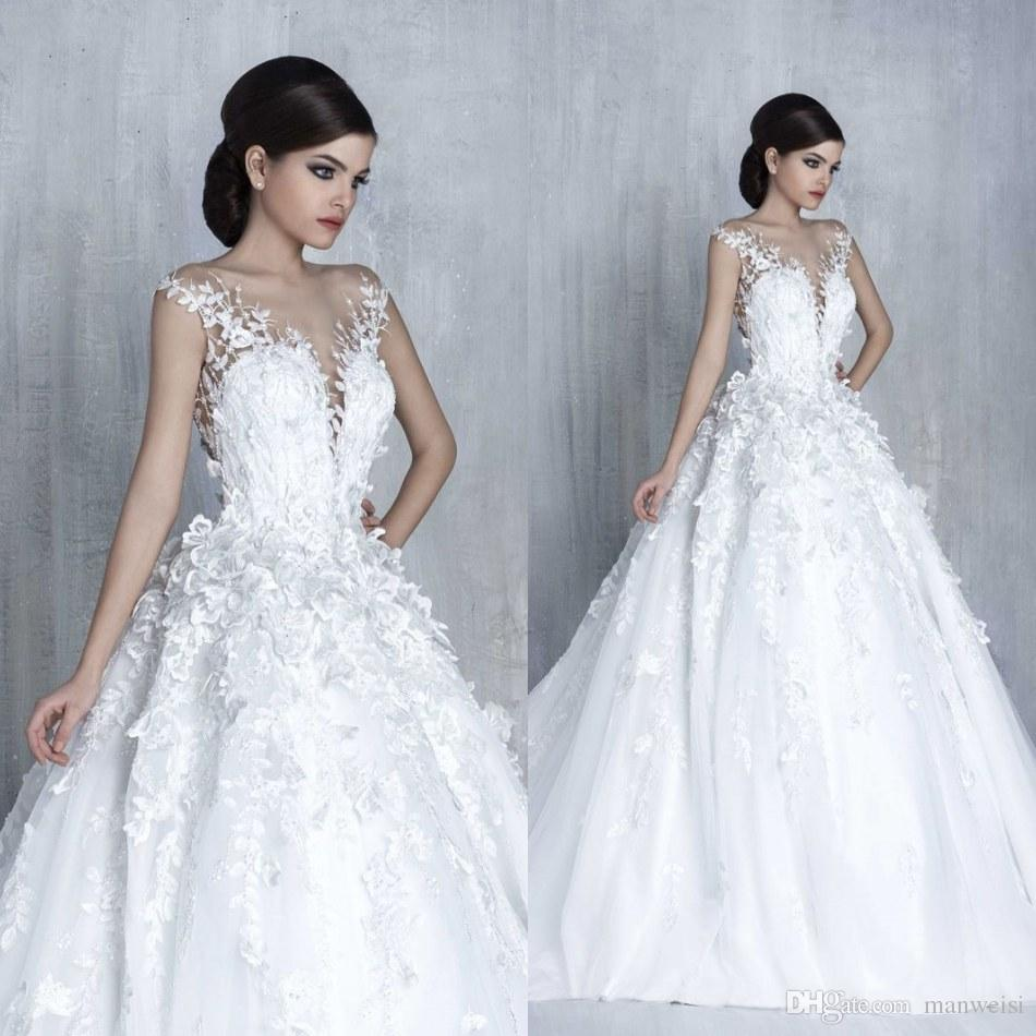 Tony Chaaya 2017 Princess Wedding Dresses 3d Floral Appliques Lace ...
