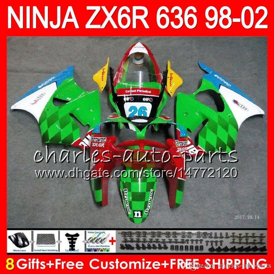 8 Geschenkset Für KAWASAKI NINJA ZX636 ZX-6R ZX-636 600CC ZX Neu grün 636 31NO48 ZX6R 98 99 00 01 02 ZX 6R 1998 1999 2000 2001 2002 Verkleidung