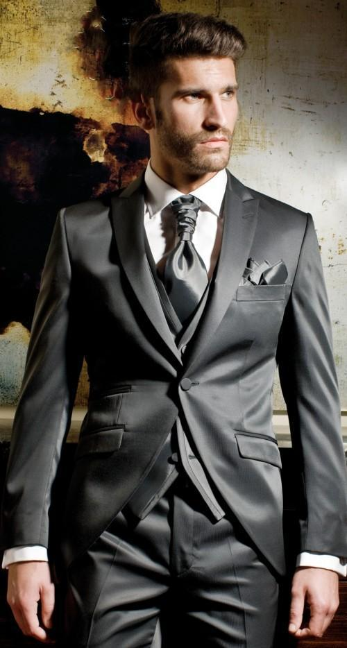 2017 Charcoal Gray Men Suits Men Wedding Suits Groom Suits Prom ...