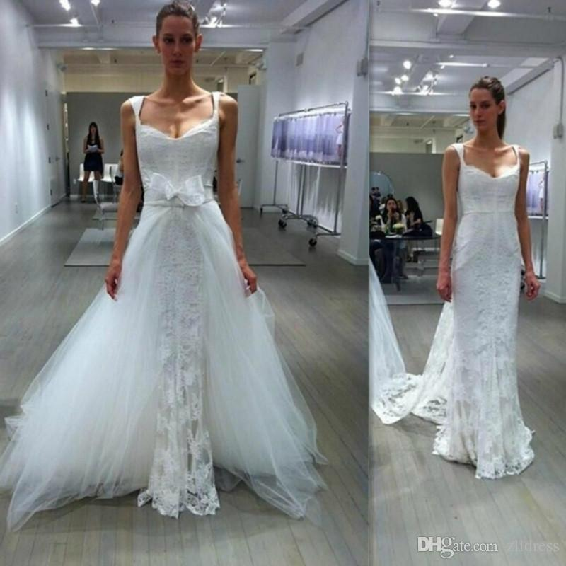 2017 Detachable Train Wedding Dresses Modest Sheath Western Lace ...