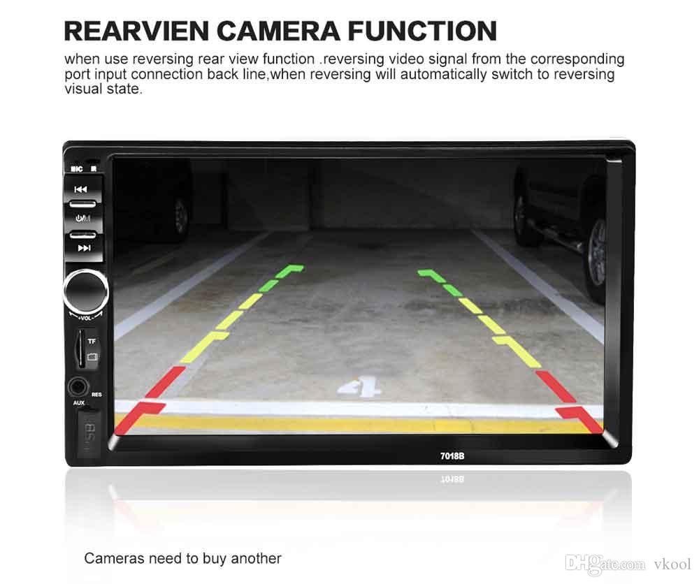 Universal 7 pulgadas 2-DIN DVD para auto Reproductor de audio estéreo para auto 7018B Pantalla táctil Vídeo para auto Reproductor de MP5 TF SD MMC USB Radio FM Llamada manos libres