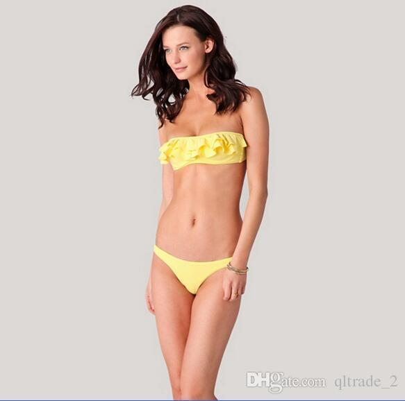 DM057 costume da bagno bikini con volant in nylon di alta qualità in polipropilene donna BIKINI