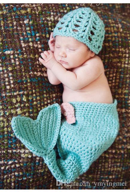 7239a34553a New Children Accessories Crochet Newborn Mermaid Tail Sets Handmade  Photography Props Knitting Hat With Sleeping Bag Mermaid Handmade Crochet  2016 Online ...