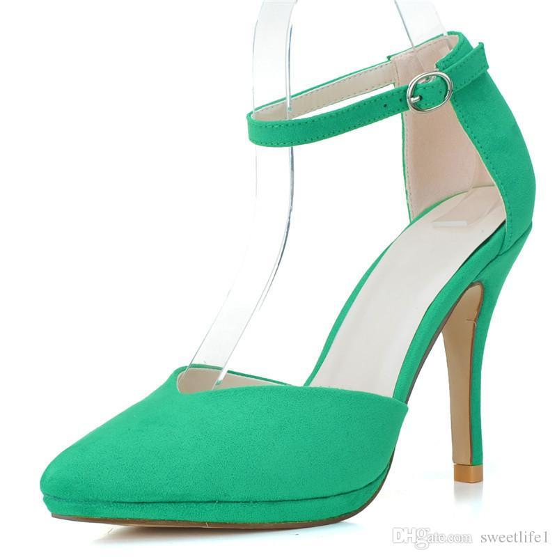 Ch0255-21 Zarif Moda Yüksek Topuklu Gelinlik Toka Askı Kadınlar Için Parti Balo Akşam Durum Ayakkabı Sivri Burun Yüksek Kalite Ucuz