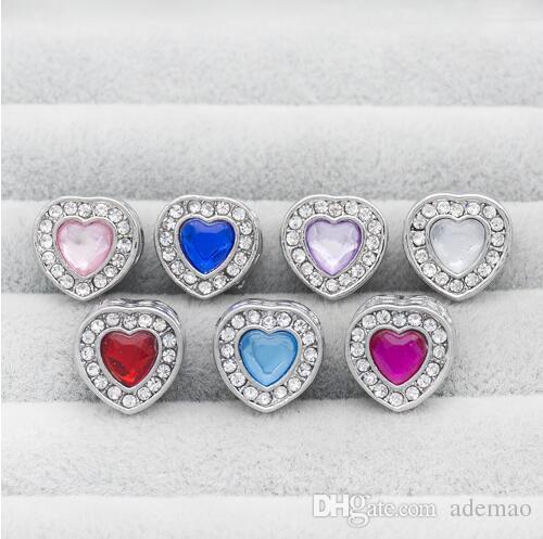2017 latest heart-shaped aPlated white K alloy diamond diamond double-sided love big hole beads jewelry