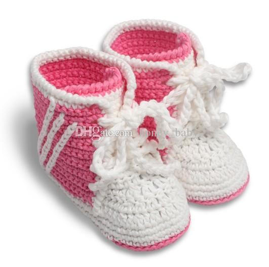 Crochet Baby Boys Girls Sport Shoes Prewalker Sneakers Newborn Infant Tennis Shoes Knitted Baby First Walkers Booties 0-12M 100% Cotton Yarn