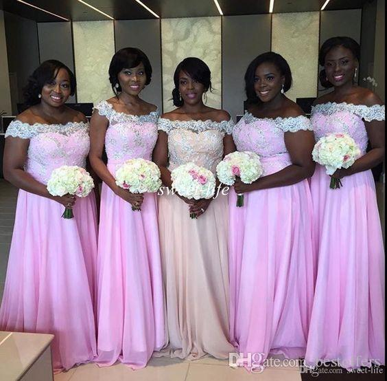 Nigerian Wedding Bridesmaid Dresses 2017 Off The Shoulder Vintage Lace Top A Line Chiffon Skirt