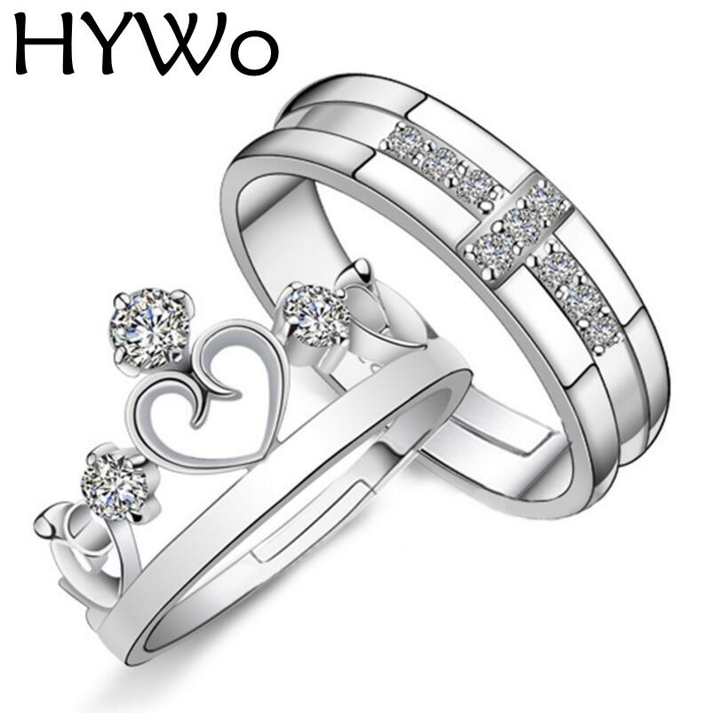 hywo brands silver plated prince princess crown cz crystal promise ring set pair for lovers couple rings for women men pandora rings 925 sterling silver - Pandora Wedding Rings