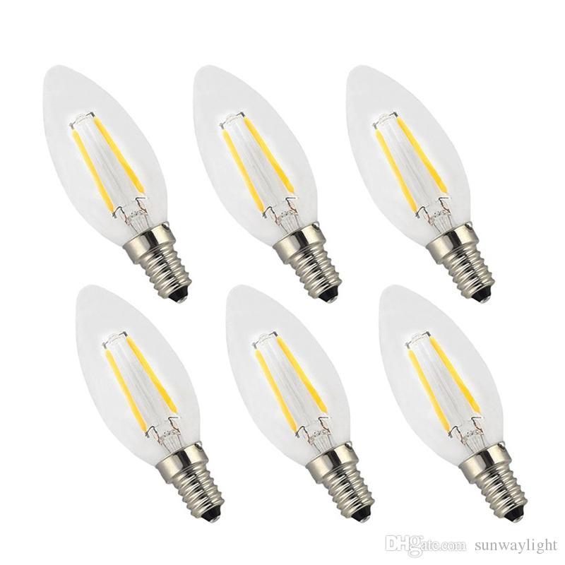 Filament Candle LED Bulbs,Chandelier, E12 E14 E27 Base Lamp, C35 Torpedo Shape Bullet Top Candelabra Light Bulb,COB LED Filament Flame Tip