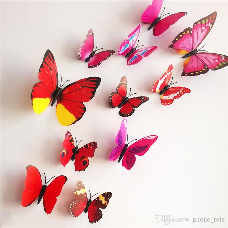 2016 wall stickers 3D Butterfly Wall sticker Removable Home Decors Art DIY Plastic Decorations Wall Paster Stickers