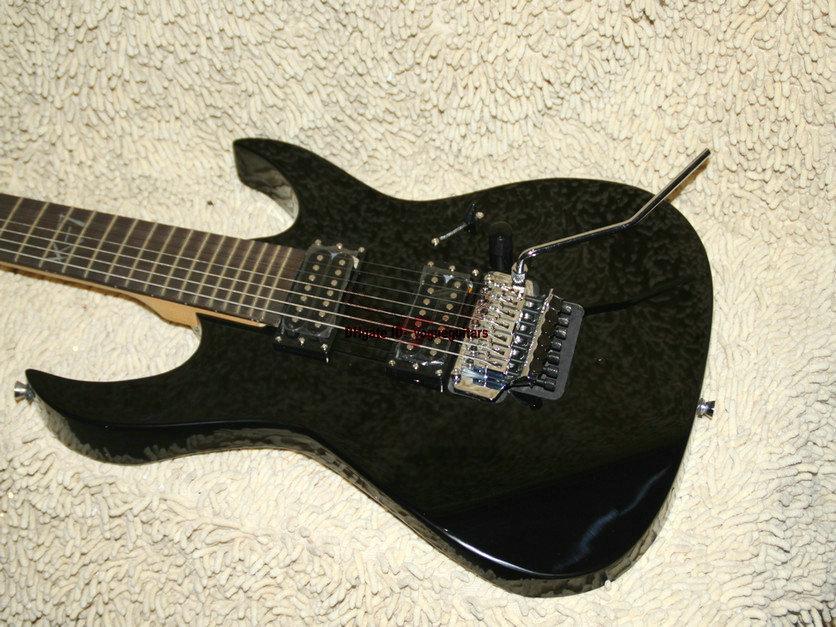 Guitarra personalizada de 7 cuerdas Guitarra eléctrica Guitarra negra de alta calidad Envío gratis