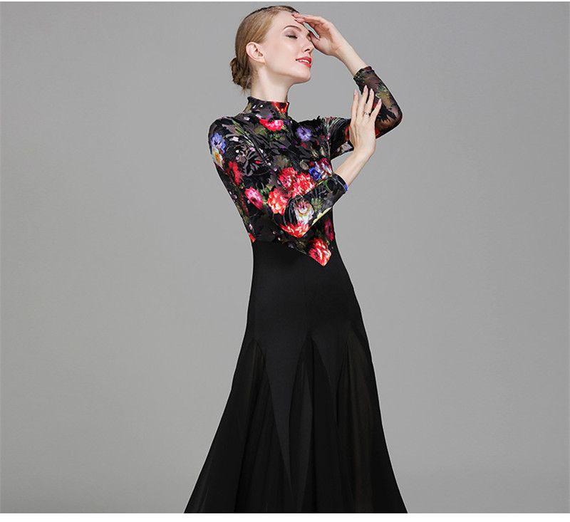 Adult/Girls Ballroom Dance Dress Modern Waltz Standard Competition Practice Dance Dress Black Small high collar Flower Printed Dress