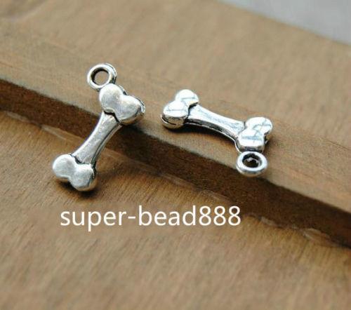 Livraison gratuite Antique Silver Bone Charms Bracelet pendentif pour la fabrication de bijoux17x10mm