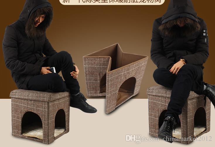 O envio gratuito de novo estilo duas funções cão de estimação filhote de cachorro gato cama casa como móveis de mesa dobrável cão de estimação gato casa mat