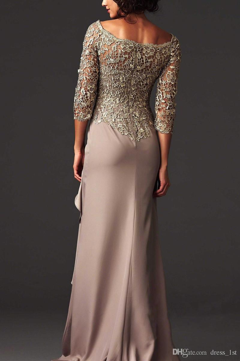 Zuhair Murad Evening Dresses 2019 Bateau Neckline Lace and Chiffon Mother of the Bride Dresses Arabic Formal Evening Gowns with Sleeves