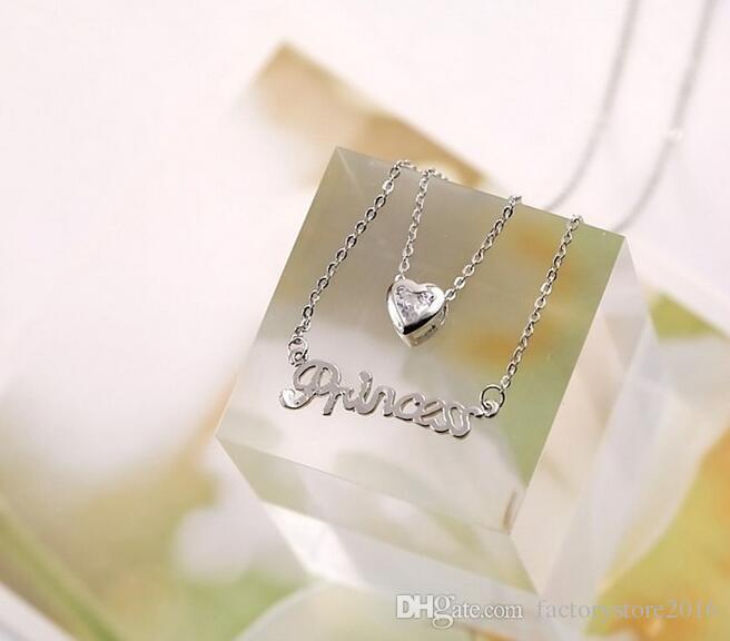 Lady Mektubu Prenses Kolye Kore Tarzı Kristal Aşk Kolye 2 Katmanlı Zincirler Gül Altın Kaplama Charm Kolye Takı Noel Hediyesi