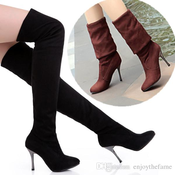 aac30fe93747f Fashion thigh high over the knee boots spandex Suede 8cm high heels women  boots Sexy Thin heel Boots Plus size 35-43