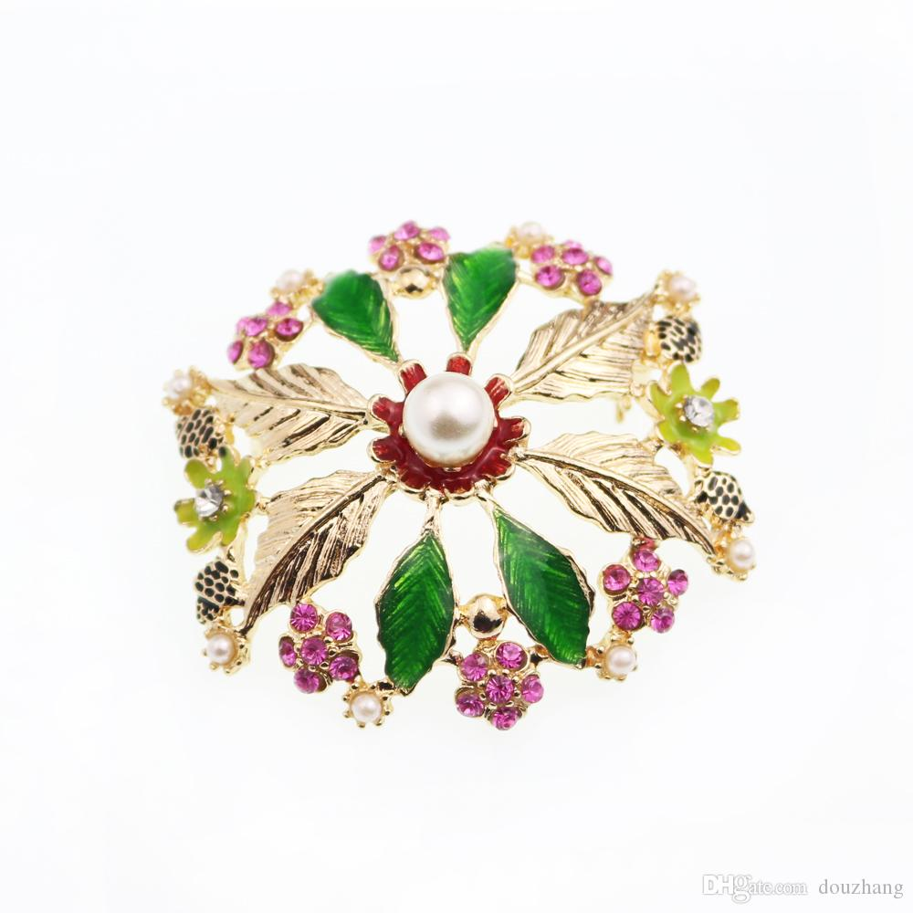Fashion Trendy Leaf Pearl Rhinestone Round Big Flower Brooch Pin Gold Tone Floral Jewelry For Gift Wholesale