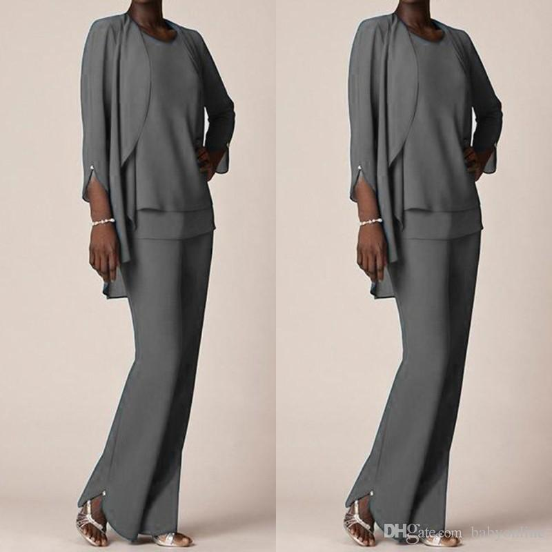 Grey Chiffon Formal Pant Suits For Mother Groom Dresses 2017 Evening ...