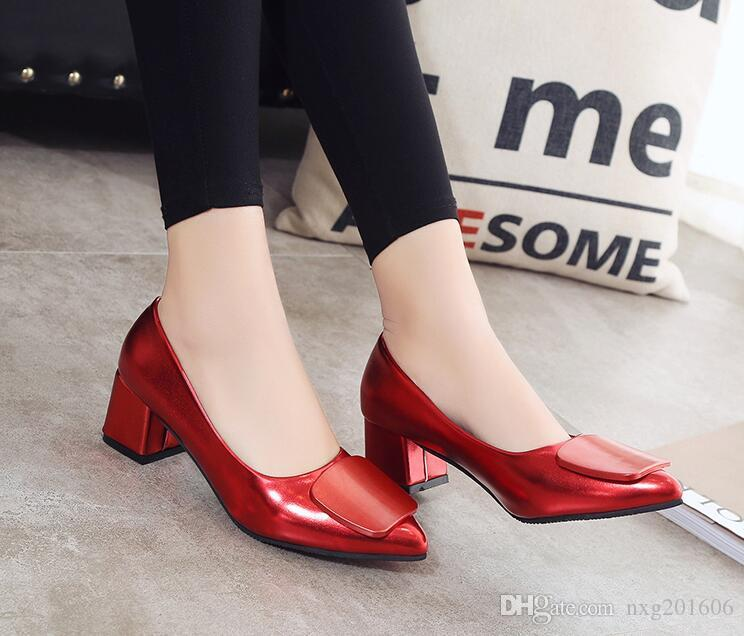2019 spring and autumn season, new pointed foot set women's shoes classic wine, red Bridesmaid shoes heel dress shoes size 34 ~ 40