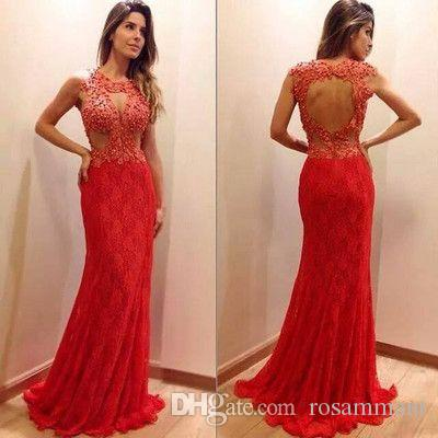 New Arrival Sexy Red Lace Prom Party Dress Beading Evening Dress Sleeveless Party Dress Custom Made
