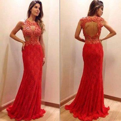 Yeni Geliş Seksi Kırmızı Dantel Balo Parti Elbise Beading Abiye Kolsuz Parti Elbise Custom Made