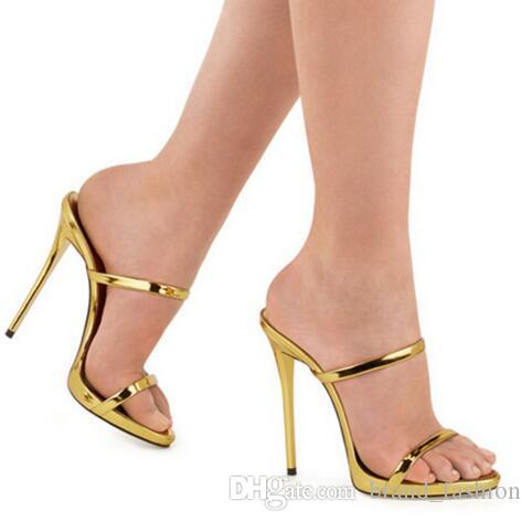 f6eb44adbf9 Fashion Thin Strappy Sandals Slipper High Heels Gold Silver Leather Gladiator  Sandals Women Slides Shoes Woman Sandalias Mujer Womens Loafers Bamboo  Shoes ...