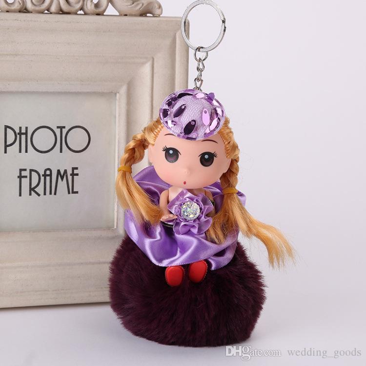 New arrival Doll hair ball key holder doll pendant fur bag pendant doll hair ball key chain KR357 Keychains a