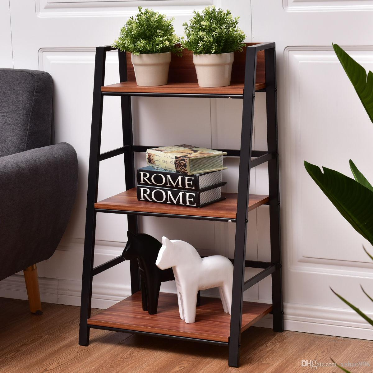 3 Tier Ladder Storage Book Shelf Wall Bookcase Bundle Modern Floor Decor