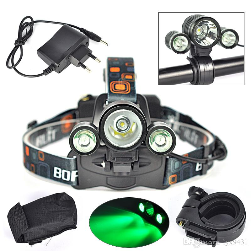 BORUIT 6000LM 3 x CREE XML T6 White+2R5 Green LED Headlamp Bicycle Head Light Headlamp Head Torches USB Lamp Charge