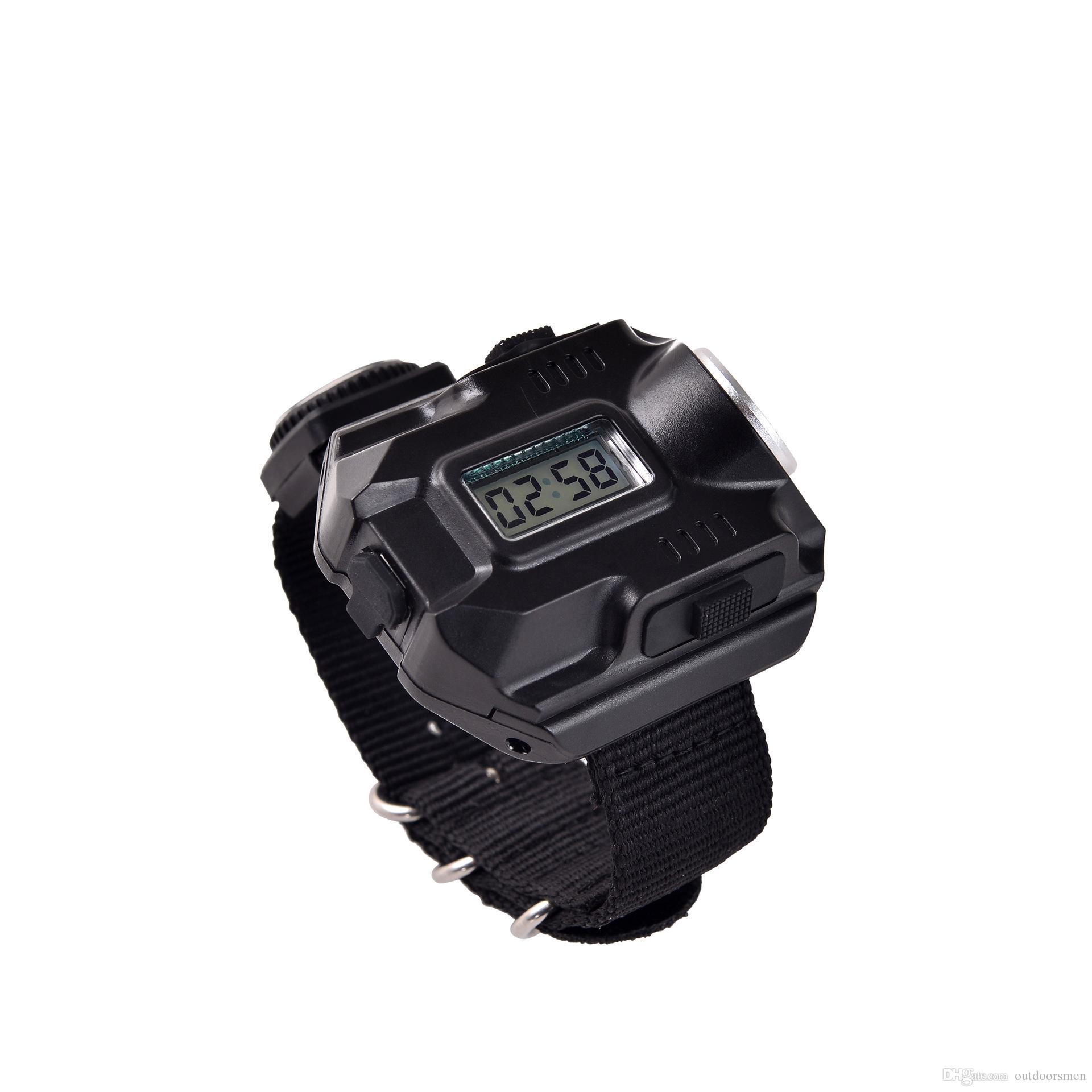 Multifuncional impermeable reloj deportivo linterna LED antorcha lámpara luz láser reloj de pulsera altura media flash bajo sos
