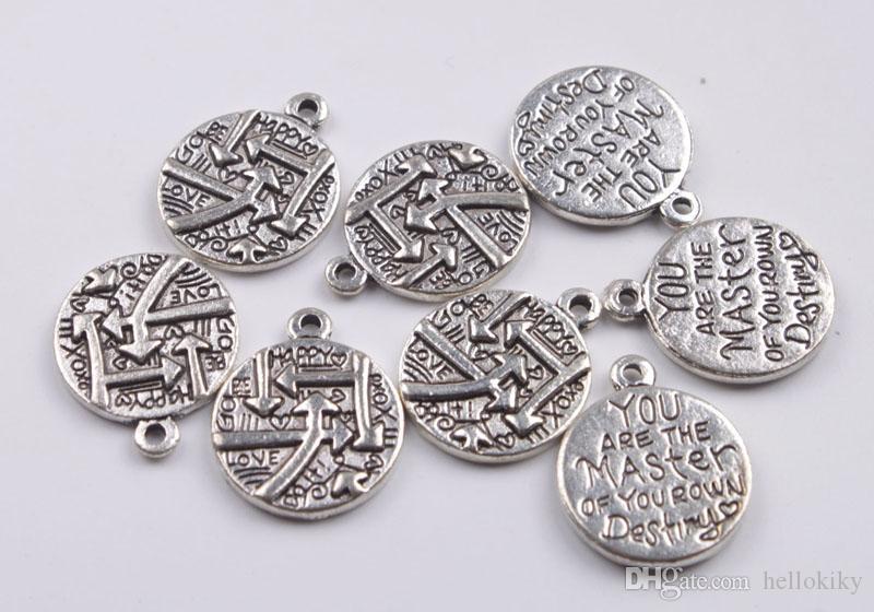 Moda antiqued prata metal você é o mestre de seu próprio destino encantos # 92426