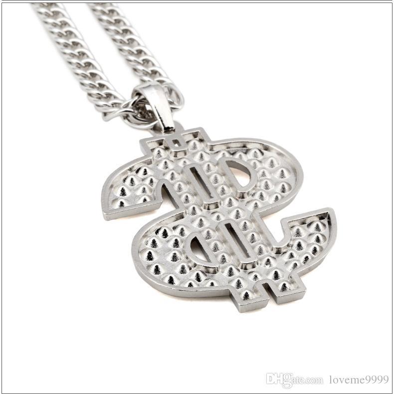 Высокое качество женщины мужские рок хип-хоп 18K позолоченные рэппер Кристалл США подвески рок-Кристалл доллар США подвески цепи ожерелья ювелирные изделия