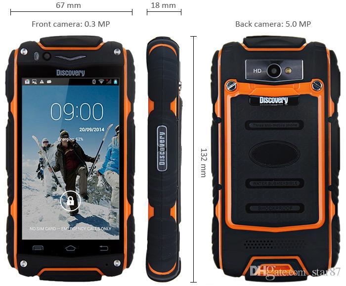 Discovery V8 4.0 '' Android 4.4 3G смартфон IPS MTK6572 Двухъядерный WiFi GPS Водонепроницаемый противоударный 4 ГБ ROM 5MP Мобильный сотовый телефон