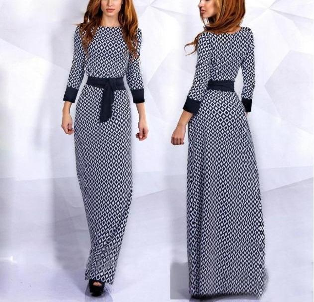 Hot Sale Ladies Summer Diamond Printed Slim Muslim 3/4 Sleeve O-Neck Maxi Dress Plus Size S-XL