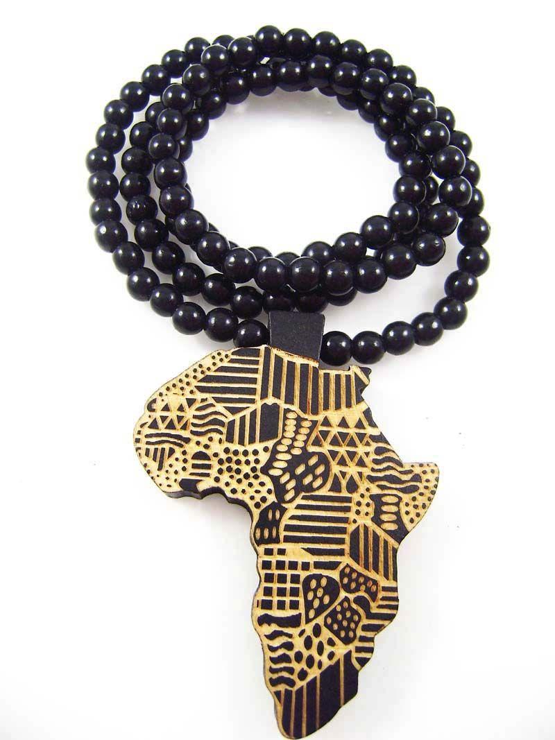 Карта Африки Подвеска Good Wood NYC Хип-Хоп Деревянная Танцовщица Мода Длинное Ожерелье Оптовая Горячая Продажа # AWk23