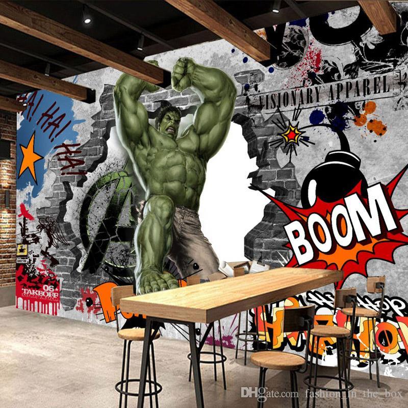Avengers Photo Wallpaper Custom 3d Hulk Wallpaper Graffiti Wall