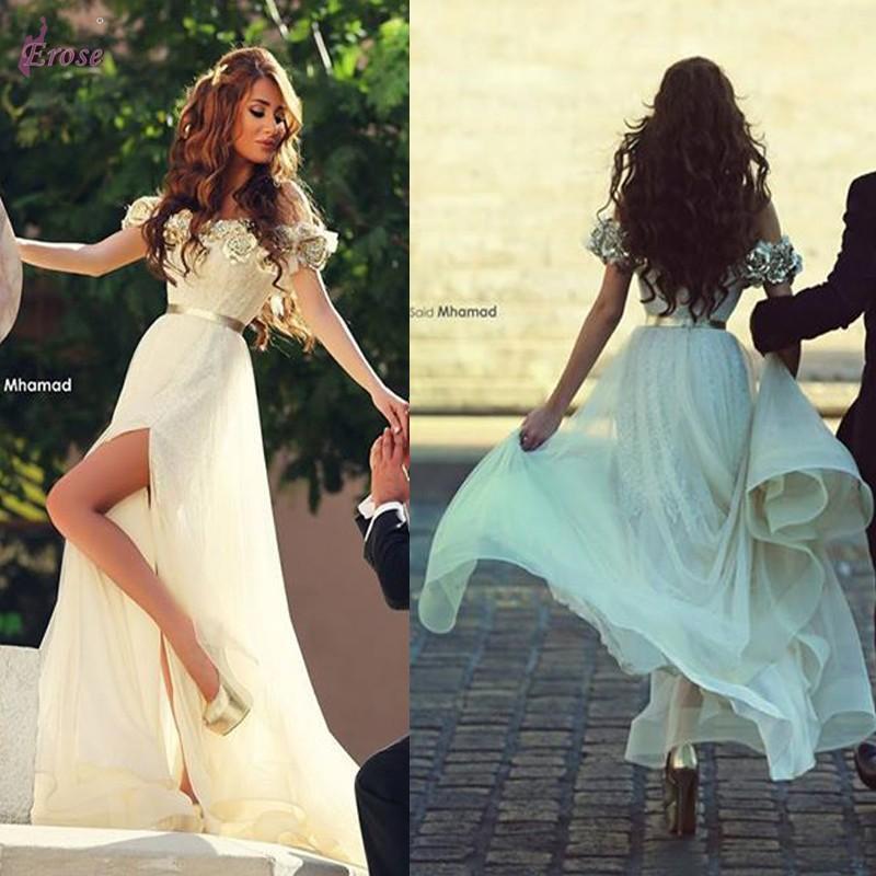Koppels Mode 2016 Split Prom Dresses 3D handgemaakte bloemen versierd van de schouder chiffon over kant feestjurken