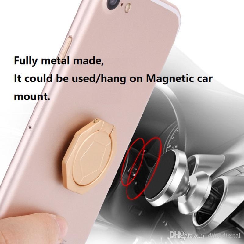 Evrensel parmak yüzük telefon standı tutucu futbol tasarım, 360 ° 180 °, metal halka güçlü yapışkan bant cep telefonu manyetik araba dağı üzerinde tutun