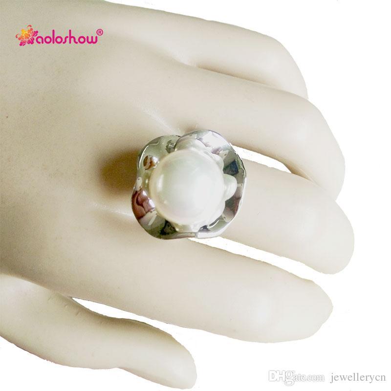 Zilveren bloem parel ring voor vrouwen sieraden mode verlovingsringen dames sieraden collier femme 2017   RN-406
