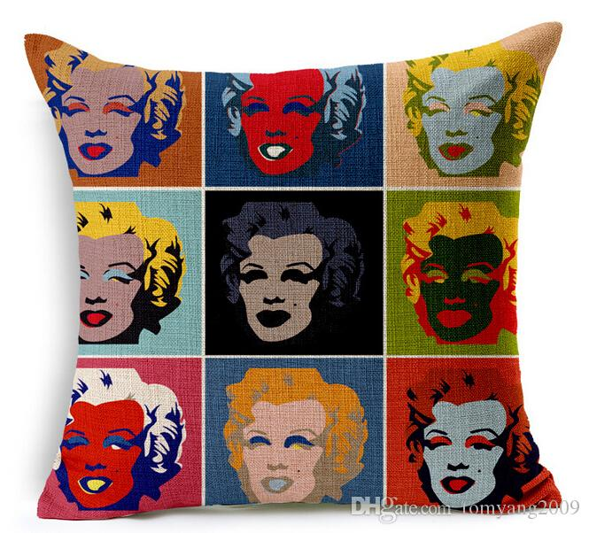 Novelty Gift Pillowcases Sexy Star Marilyn Monroe Portrait Pattern Linen Cushion Cover Home Car Decorative Throw Pillow Case