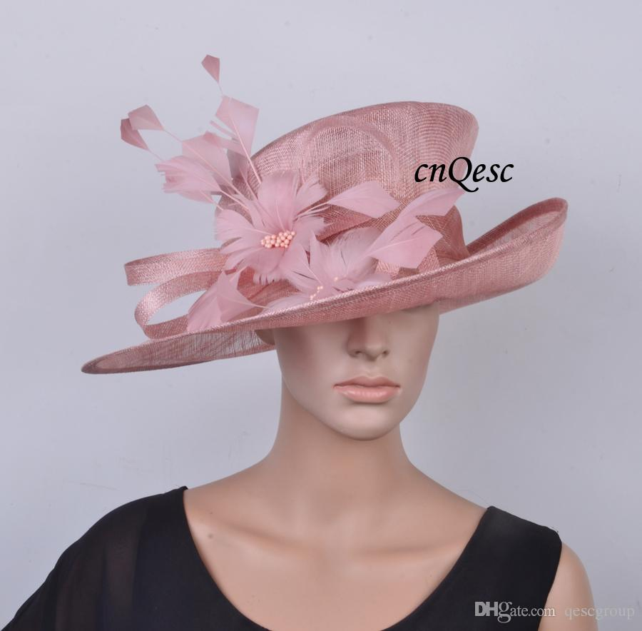 NEW Blush Pink Sinamay Hat Formal Dress Hat Ladies Hat With Feather Flower  For Kentucky Derby 3b423d32131